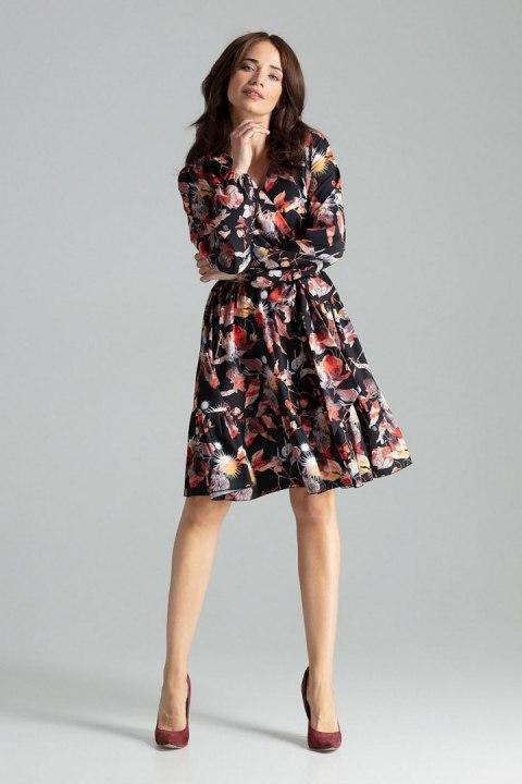 Sukienka midi z długim rękawem zakończonym marszczeniem L053 Czarny kwiaty